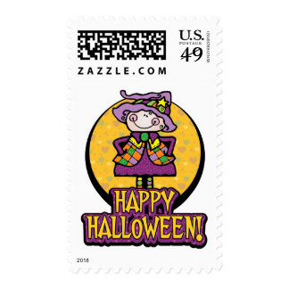 Friendly Witch Halloween Postage Stamps