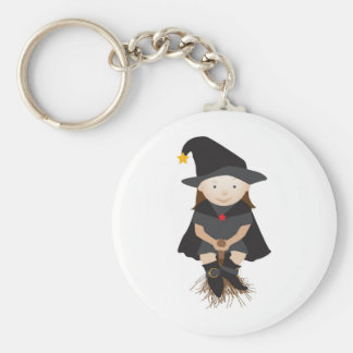 Friendly witch on a broom basic round button keychain