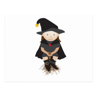 Friendly witch on a broom postcard