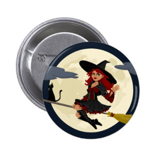 Friendly Witch Waving Pinback Button