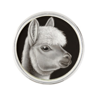 Friendly Young Alpaca Lapel Pin