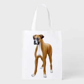 Friendly Young Boxer Dog Grocery Tote Bag