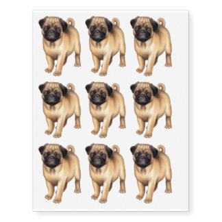 Friendly Young Pug Dog Temporary Tattoo