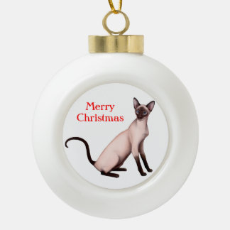 Friendly Young Siamese Cat Christmas Ornament