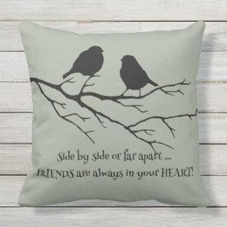 Friends Always in Your Heart Friendship Bird Quote Outdoor Pillow
