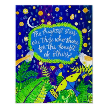 Art Themed Friends and Fireflies Folk Art Print
