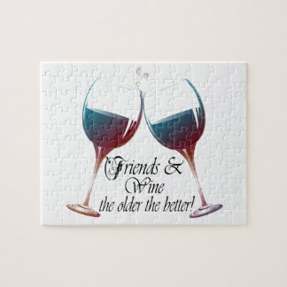 Friends and Wine the older the better Wine art Jigsaw Puzzle