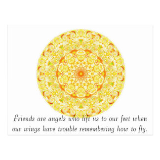 Friends are angels who lift us to our feet when... postcard