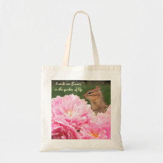 Friends are Flowers Quote Peony Totebag Bag