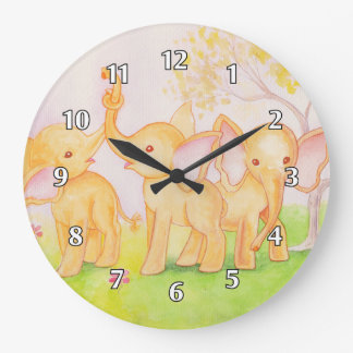 Friends Are Wonderful--Elephants Know! Large Clock