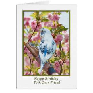 Friend's Birthday Card with Blue Parrot