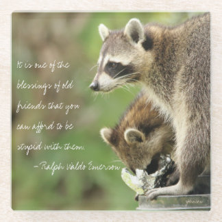 Friends & Blessings Emerson Quote Raccoons Custom Glass Coaster