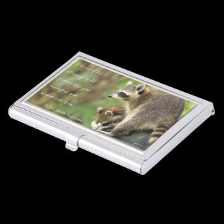 Friends & Blessings Friendship Quote Raccoons Case For Business Cards