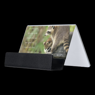 Friends & Blessings Friendship Quote Raccoons Desk Business Card Holder