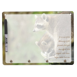 Friends & Blessings Friendship Quote Raccoons Dry Erase Board With Keychain Holder