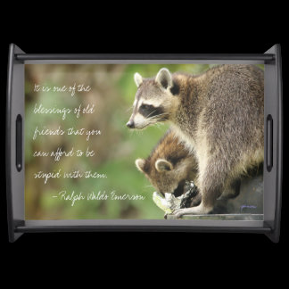 Friends & Blessings Friendship Quote Raccoons Serving Tray