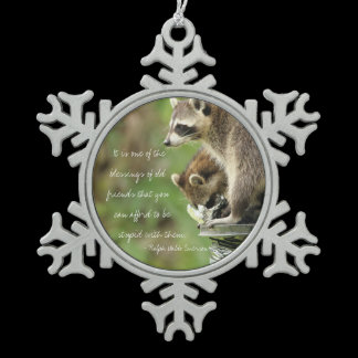 Friends & Blessings Friendship Quote Raccoons Snowflake Pewter Christmas Ornament