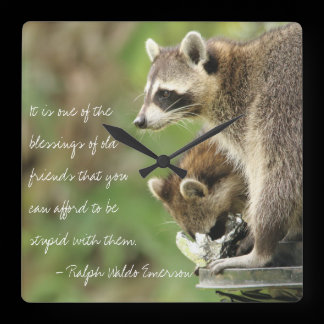 Friends & Blessings Friendship Quote Raccoons Square Wall Clock