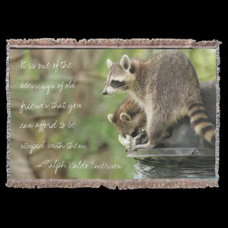 Friends & Blessings Friendship Quote Raccoons Throw
