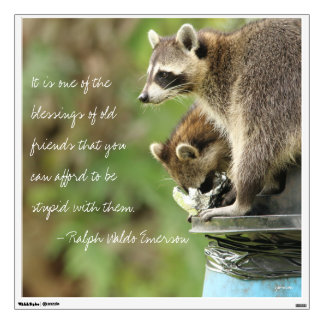 Friends & Blessings Friendship Quote Raccoons Wall Decal