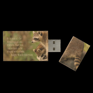Friends & Blessings Friendship Quote Raccoons Wood Flash Drive