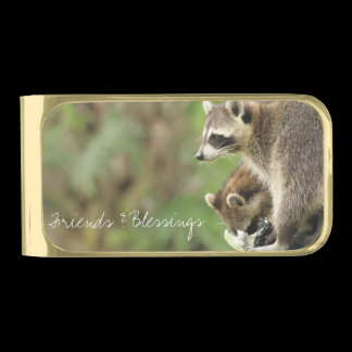 Friends & Blessings Raccoons Custom Gold Finish Money Clip