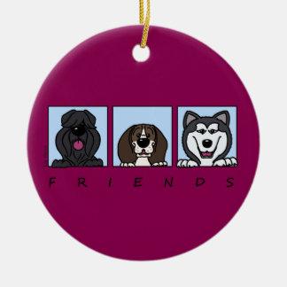 Friends: Bouvier, Beagle & Alaskan Malamute Ceramic Ornament