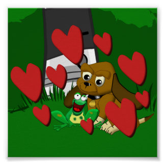 Friends cartoon beagle dog and frog with hearts poster