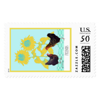 Friends: chicken collage with sunflowers postage