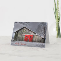 Friends Christmas  on old barn with red door Card