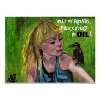 FRIENDS COVERED WITH OIL poster