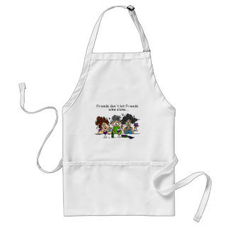 Friends don't let friends wine alone adult apron