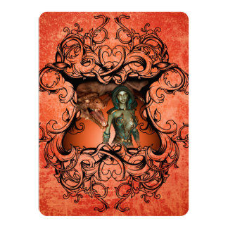 Friends, dragon with fighter in a decorative frame card