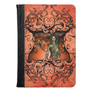 Friends, dragon with fighter in a decorative frame kindle case
