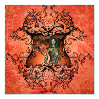 Friends, dragon with fighter in a decorative frame magnetic card