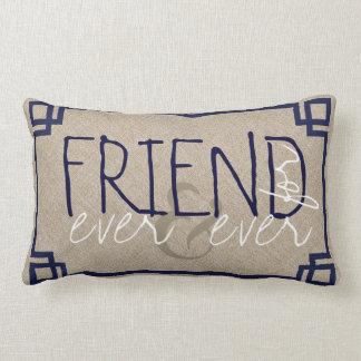 Friends For Ever Beige Linen & Blue Frame Lumbar Pillow