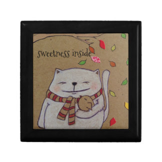 friends for life cute cat and bird hug gift box