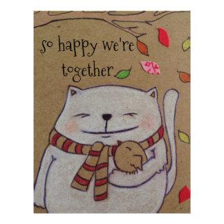 friends for life cute cat and bird hug letterhead