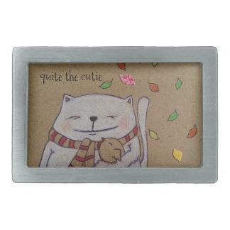 friends for life cute cat and bird hug rectangular belt buckle