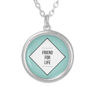 Friends for life silver plated necklace