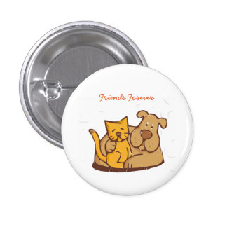 Friends Forever- Cat & Dog Button