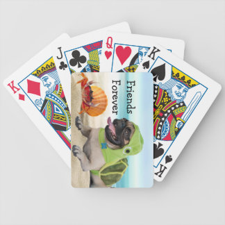 Friends Forever: Crab + Turtle Pug Bicycle Playing Cards