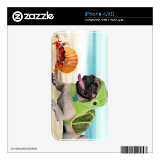 Friends Forever: Crab + Turtle Pug iPhone 4S Decal