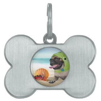 Friends Forever: Crab + Turtle Pug Pet ID Tag