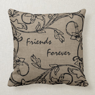 Friends Forever Floral Crewel Work Effect Burlap Throw Pillow