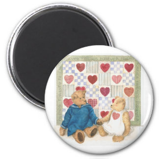 friends forever illustrated teddy bears 2 inch round magnet