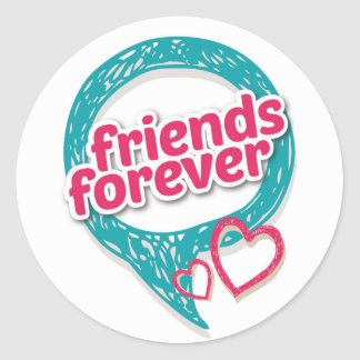 Friends Forever Love hearts <3 Classic Round Sticker