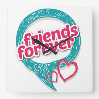 Friends Forever Love hearts <3 Square Wall Clock