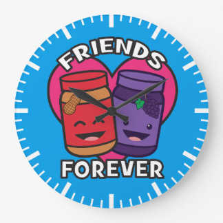 Friends Forever - Peanut Butter And Jelly Kawaii Large Clock