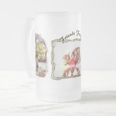 Friends Forever Spring Flowers PCM1 Frosted Glass Beer Mug